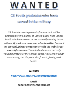 Wanted CB South Graduates that have served in the military
